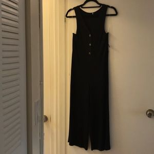 NWT black ribbed calf length jumpsuit